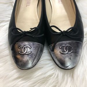 CHANEL Shoes - CHANEL Metallic CC Cap-Toe Ballet Flats